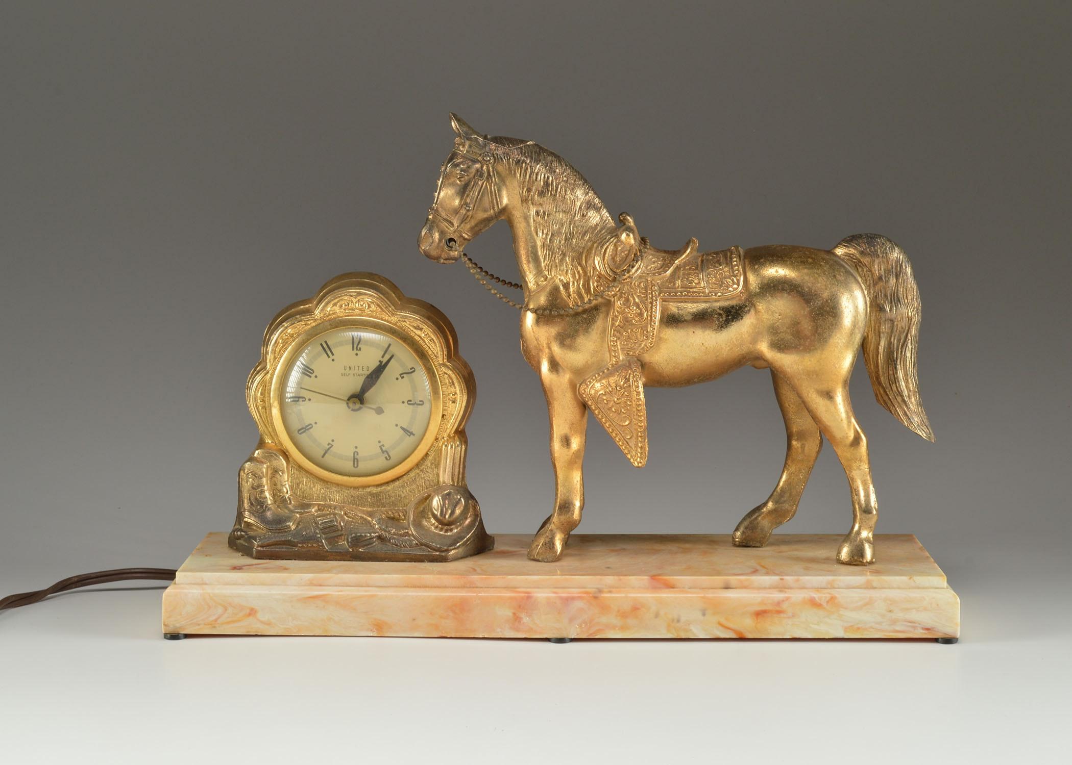 Antique horse mantel clock