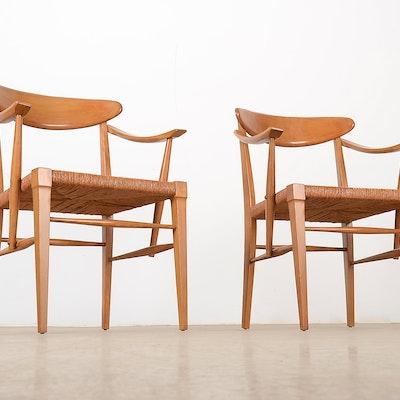 pair of danish rush seat armchairs - Retro Chairs