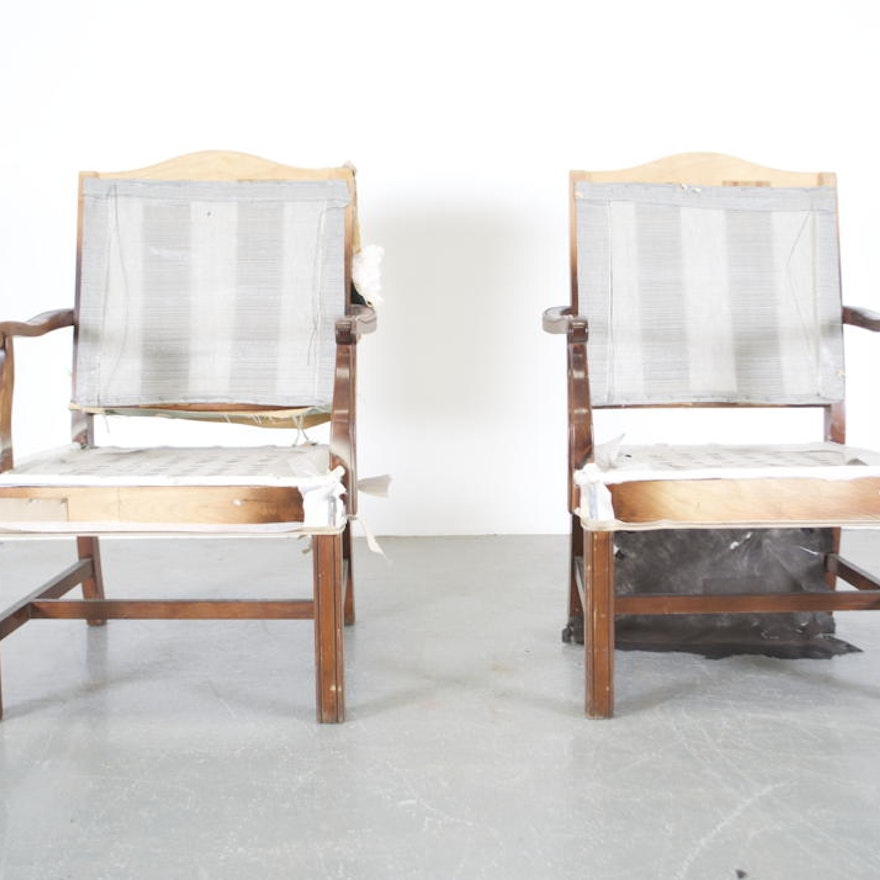 Pair of Unfinished Upholstered Walnut Chair Frames : EBTH