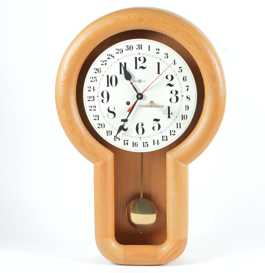 vintage howard miller oak wall clock with eight day wind