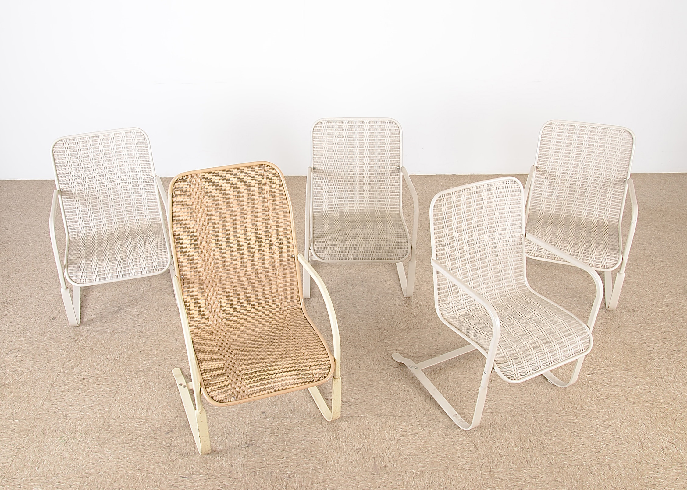 Five Modern Lloyd Flanders Cream Colored Woven Outdoor Chairs ...