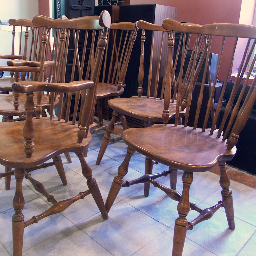 Vintage Ethan Allen Six Maple Brace Back Chairs