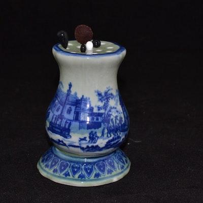 fd237d0f2ba Flow Blue Porcelain Hat Pin Stand With Hat Pins