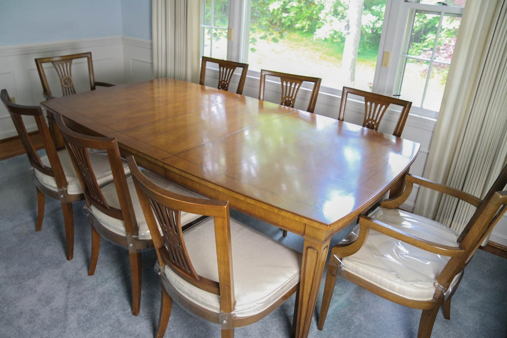Maple Kitchen Table With Chair And Bench Ebth: Henredon Dining Room Table And Chairs : EBTH