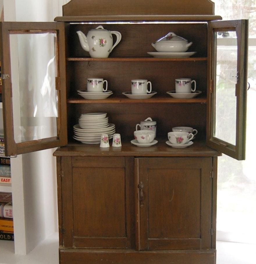 Antique Child S Stepback China Cabinet With Tea Set Ebth