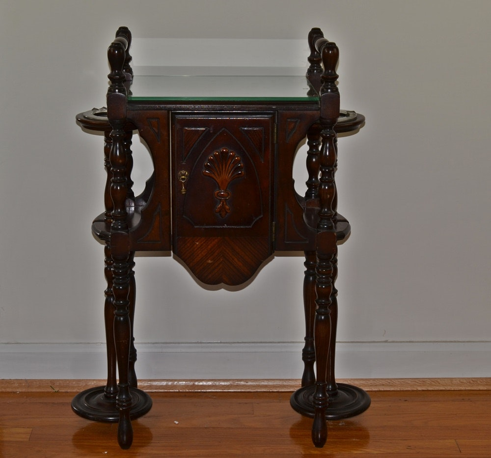 Vintage Walnut Smoking Stand Ebth