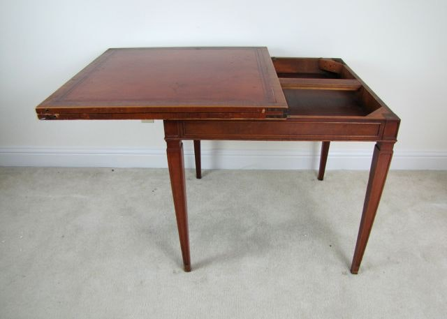 mid 20th century heritage henredon leather top game table ebth