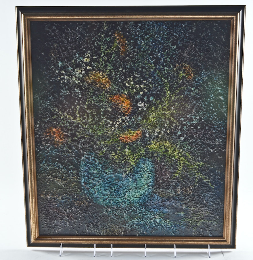 Textured oil on canvas flowers in vase painting ebth for Texture painting on canvas