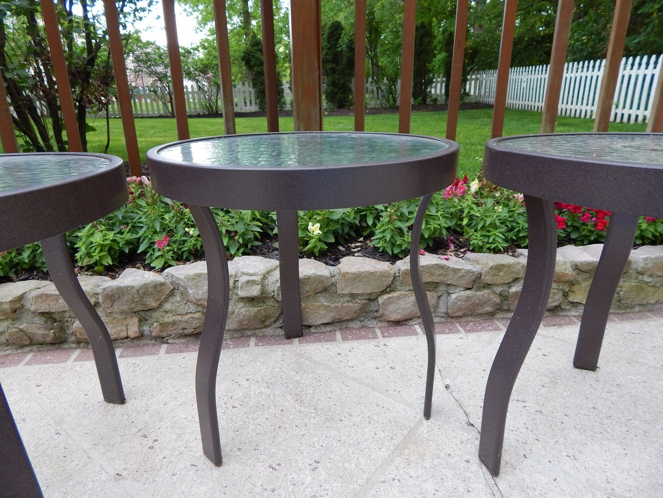 Three Suncoast Casual Patio Tables EBTH