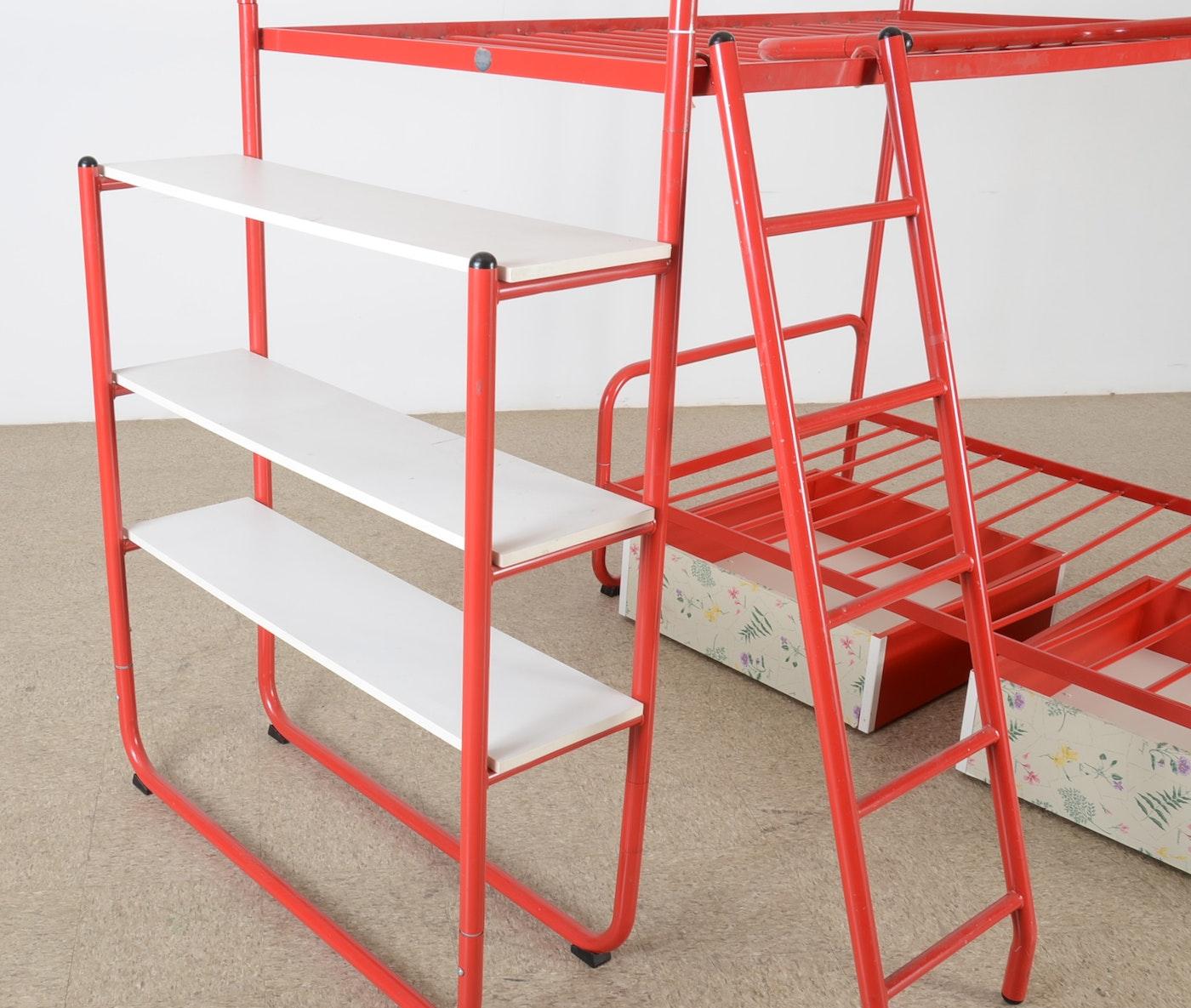 red metal tubular frame bunk bed ebth. Black Bedroom Furniture Sets. Home Design Ideas