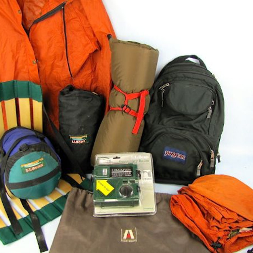 L L  Bean Tent, Emergency Radio, Jansport Pack and Camping Gear