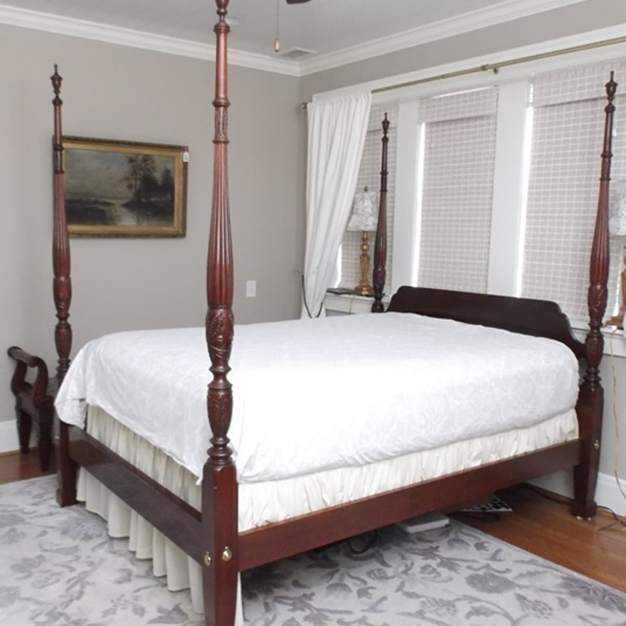 Ethan Allen Charleston Style Queen Size Four Poster Rice Bed