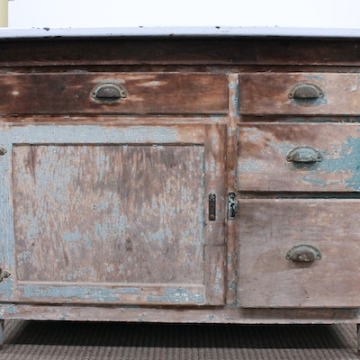 Vintage and antique cabinets auction in indianapolis for White enamel kitchen cabinets