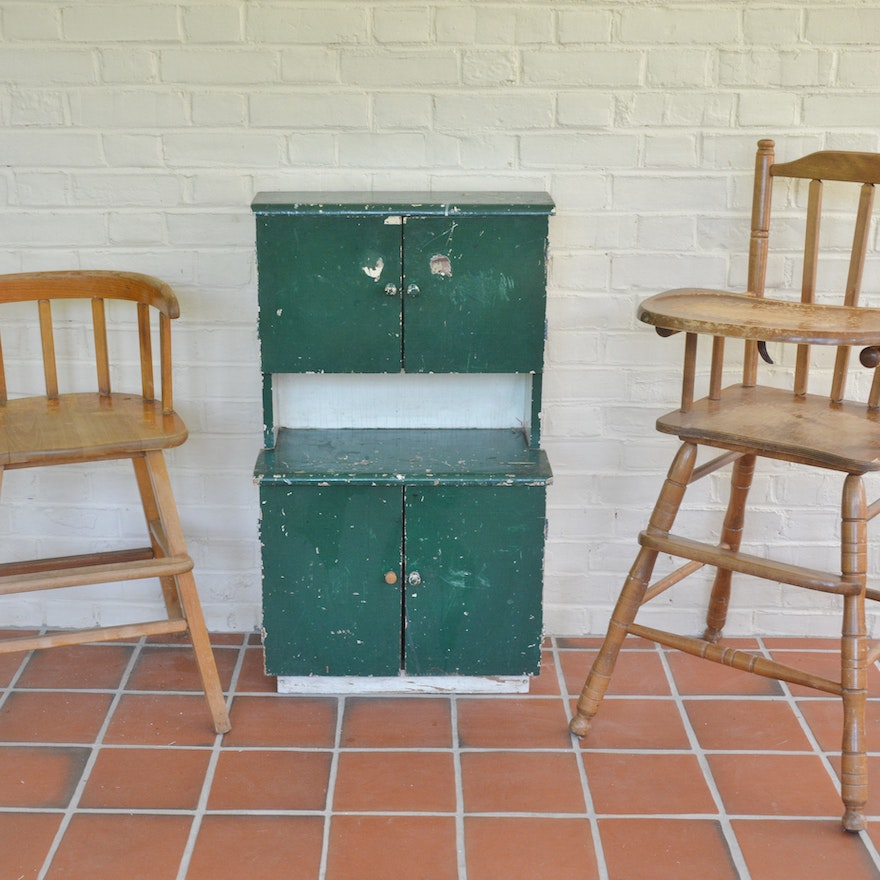 Vintage Wooden High Chair Booster Chair And Child S Cabinet Lot Ebth