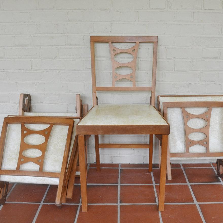 Sensational Set Of Four Vintage Leg O Matic Folding Chairs Inzonedesignstudio Interior Chair Design Inzonedesignstudiocom