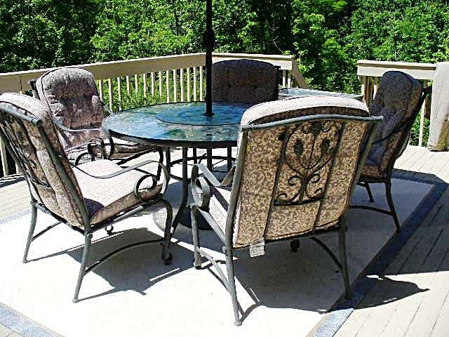 Etched Glass Table With Lazy Susan, Umbrella And Five Chairs ...