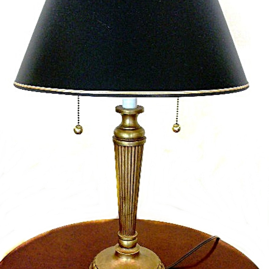 Stiffel brass table lamp with navy blue shade and double bulbs ebth stiffel brass table lamp with navy blue shade and double bulbs aloadofball Images