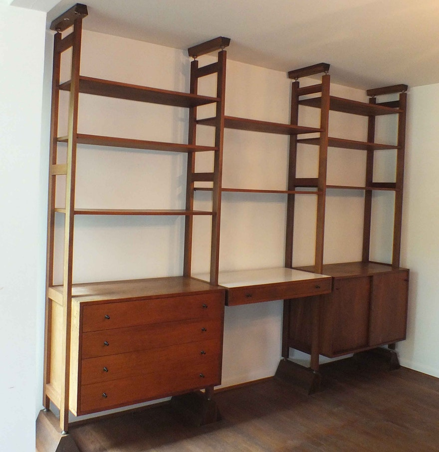 mid century modern teak wall shelving system ebth. Black Bedroom Furniture Sets. Home Design Ideas