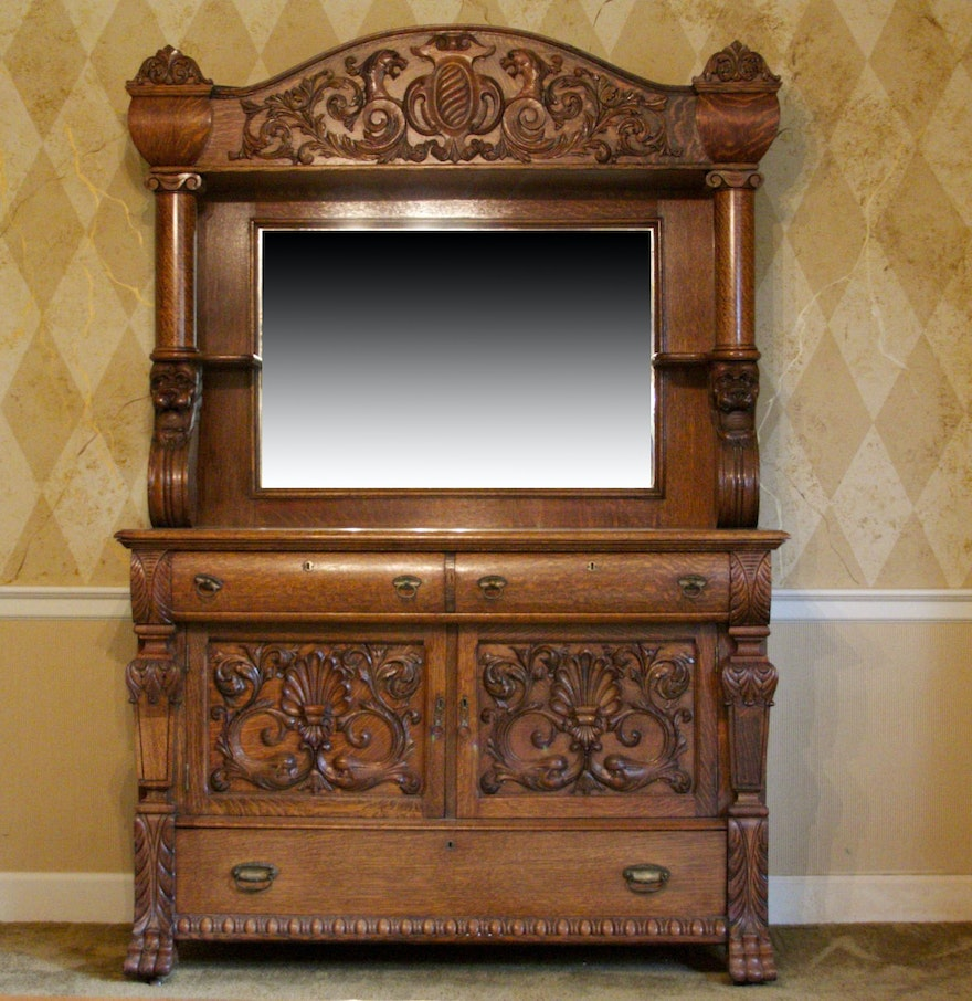 Antique Tiger Oak Sideboard Buffet With Beveled Mirror Ebth