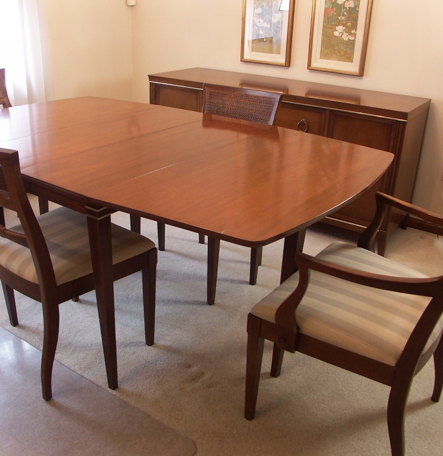 mid century 39 interlude 39 drexel drop leaf dining table and chairs ebth. Black Bedroom Furniture Sets. Home Design Ideas