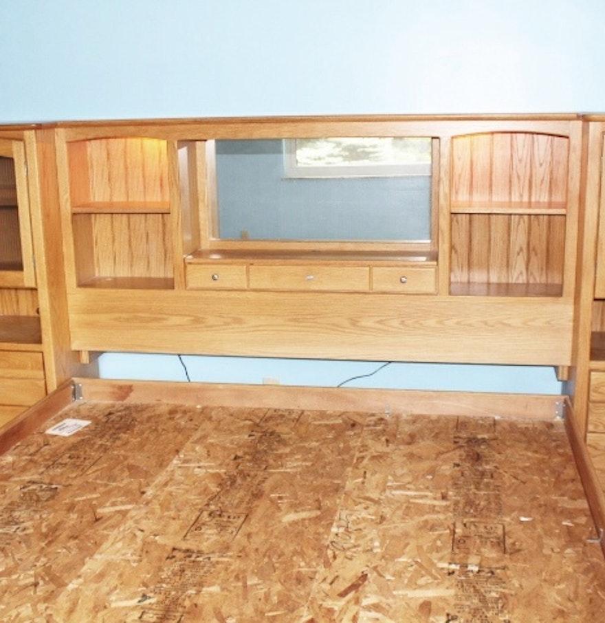 blackhawk king california oak wall bed with lighted. Black Bedroom Furniture Sets. Home Design Ideas