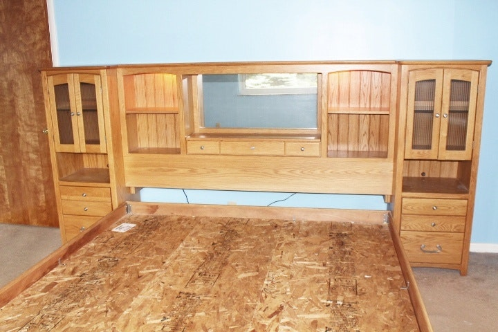 Blackhawk King California Oak Wall Bed With Lighted Nightstands ...