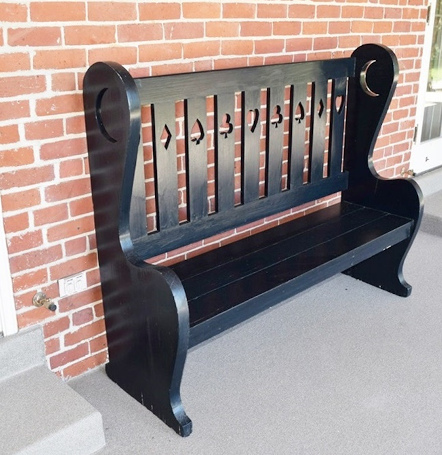 Antique wood bench with back - Antique Primitive Wooden High Back Bench With Charming Cutouts