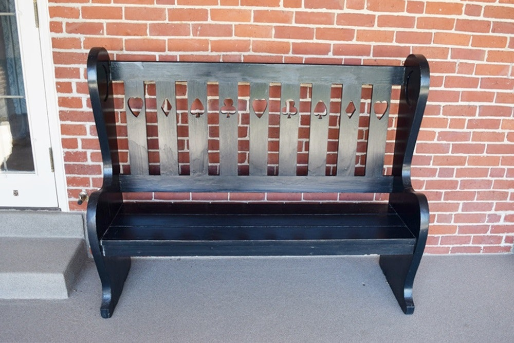 Antique Primitive Wooden High Back Bench With Charming
