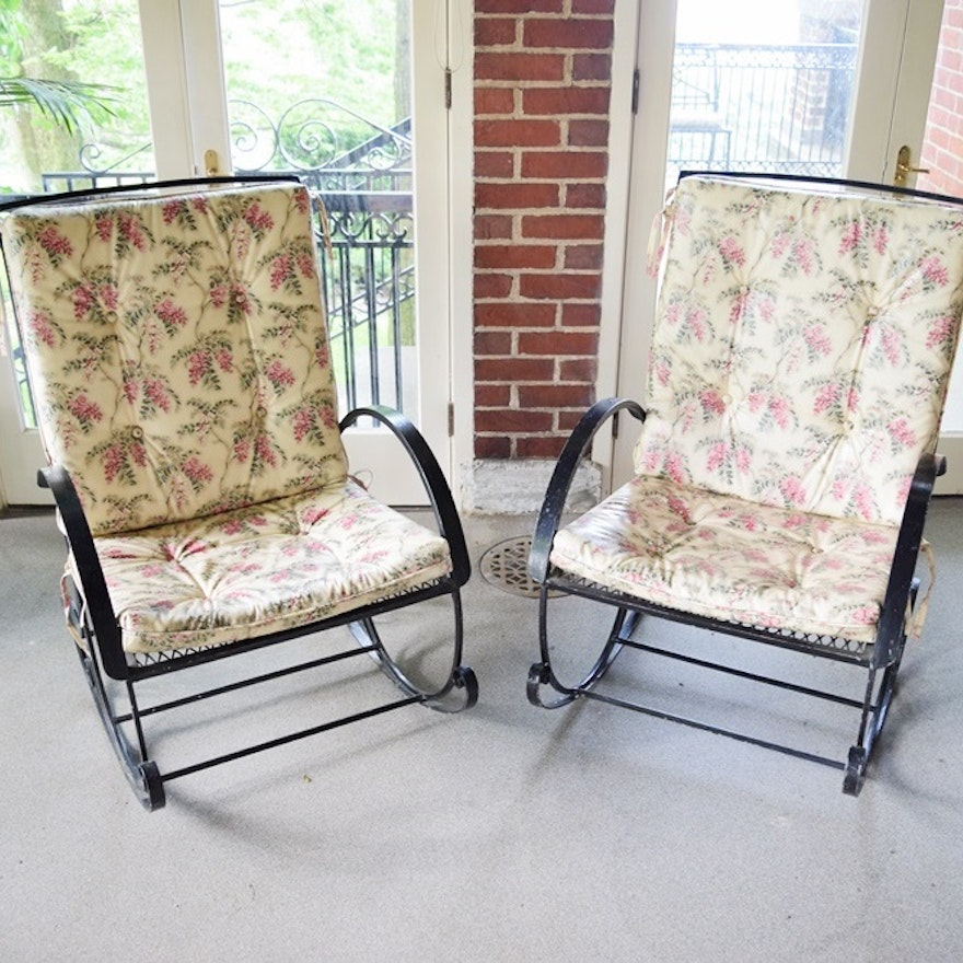Two Vintage Black Metal Mesh Patio Rocking Chairs With