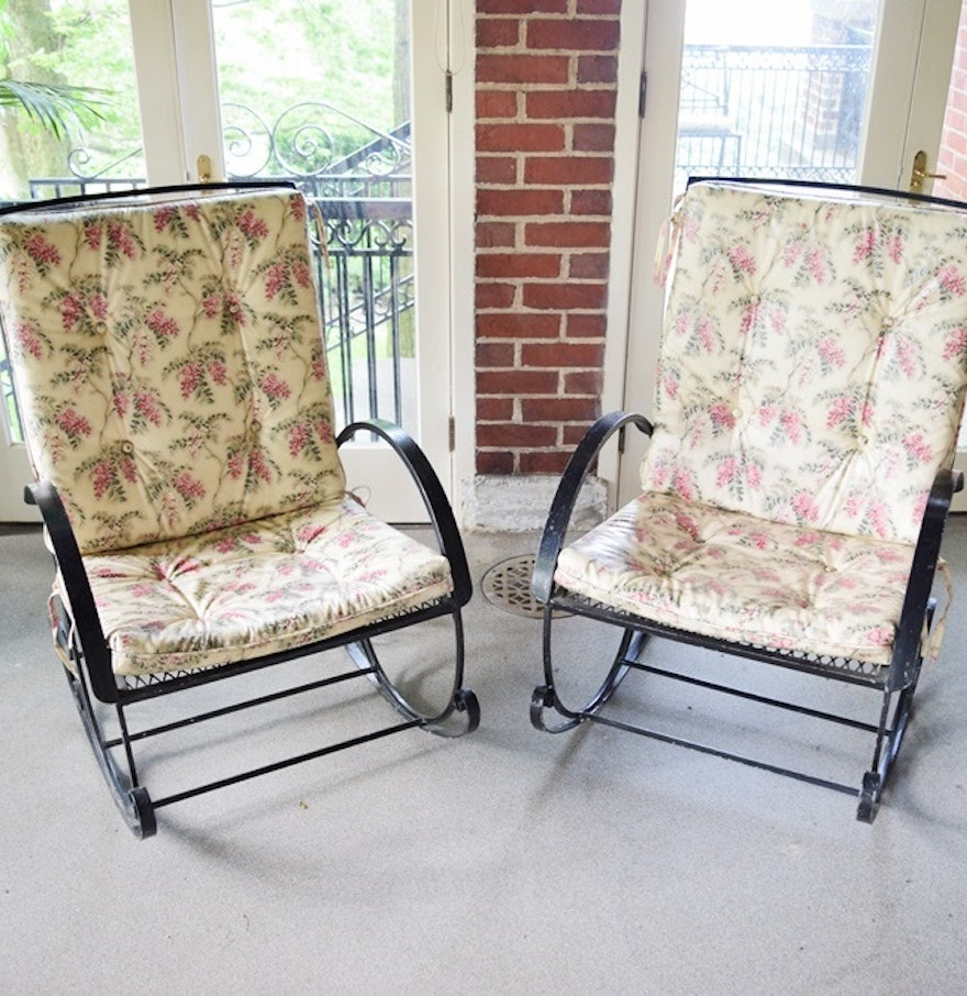 Metal mesh outdoor chairs - Two Vintage Black Metal Mesh Patio Rocking Chairs With Cushions