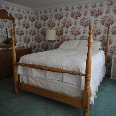 Vintage bed auction used beds and bedding for sale in middletown ohio personal property sale - Ethan allen queen beds ...