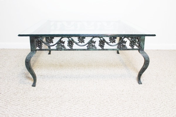 Tuscan cast iron glass top coffee table ebth for Cast iron table with glass top