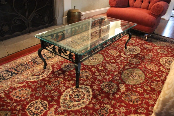 tuscan wrought iron glass top coffee table ebth. Black Bedroom Furniture Sets. Home Design Ideas
