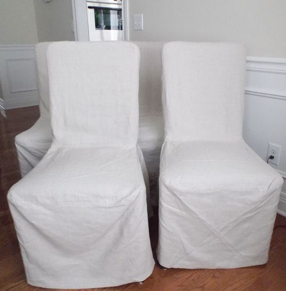 Set Of Four Pottery Barn Linen Slipcover Megan Side Chairs ...