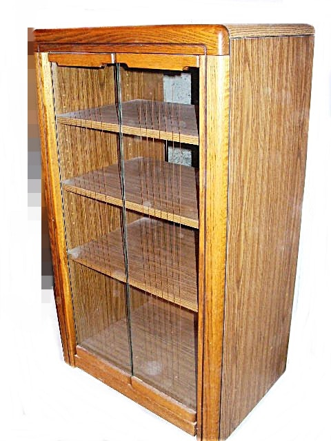 oak stereo cabinet with glass doors : ebth