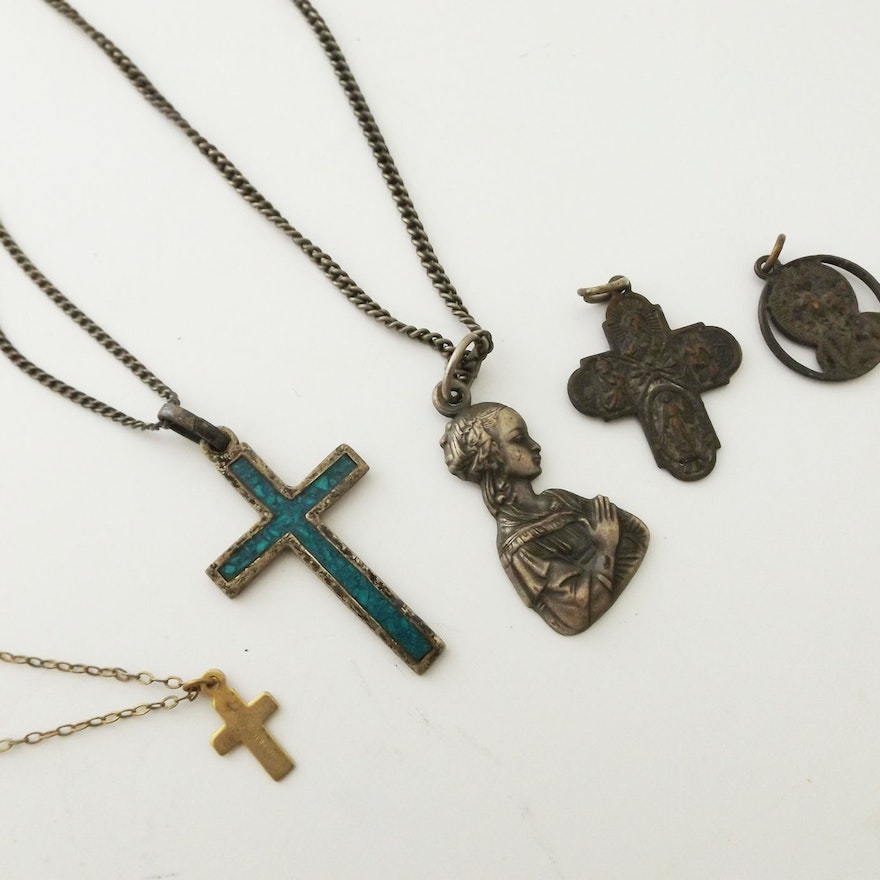 Mexican Sterling and Turquoise Crucifix and Old Religious Medals