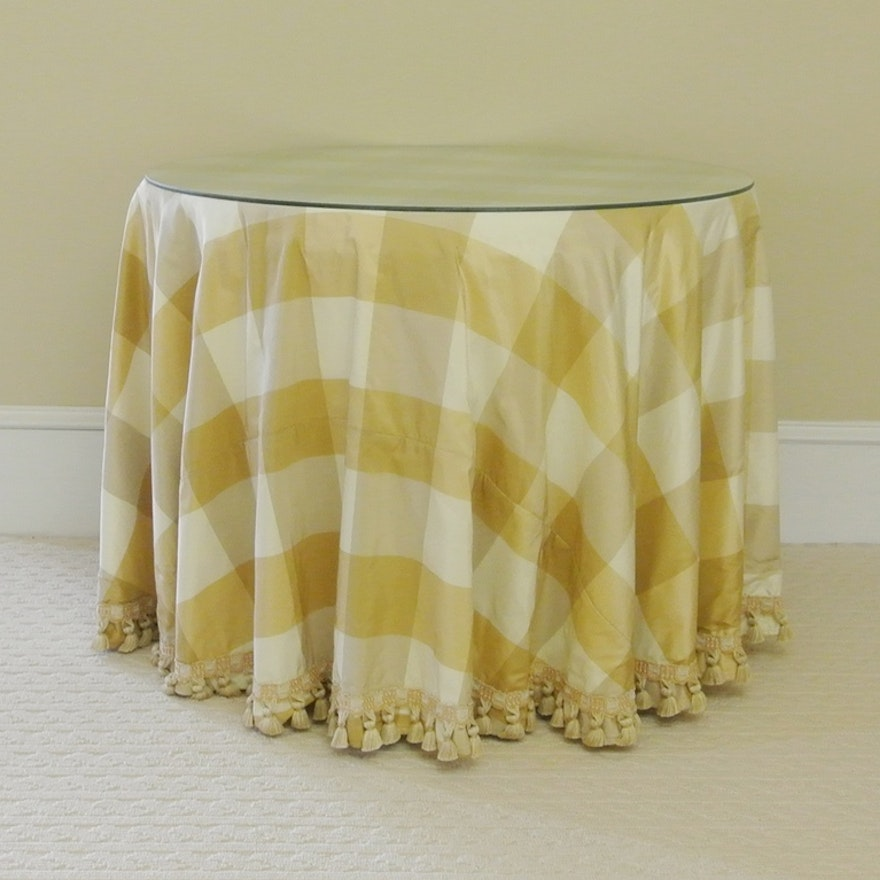 Round Table Skirts Decorator.Round Decorator Table With Glass Top And Plaid Skirt