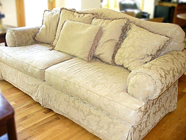 Overstuffed Sofa In Beige Jacquard With Fringed Pillows