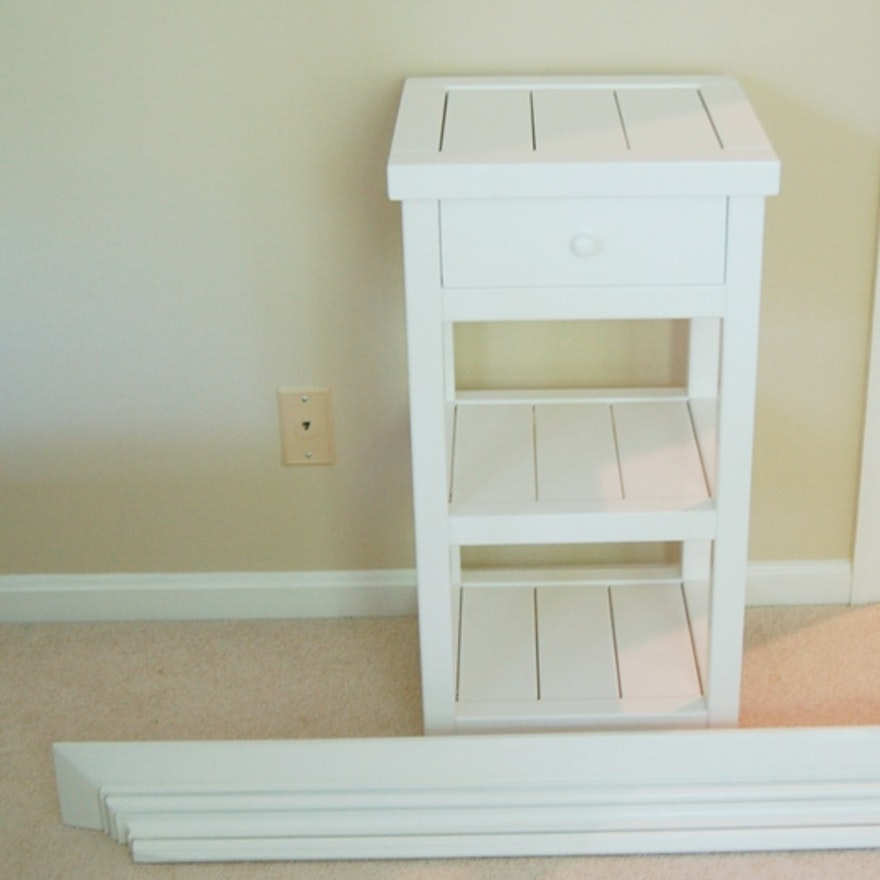 Pottery Barn White Side Table And Wall Shelf EBTH - Pottery barn white side table
