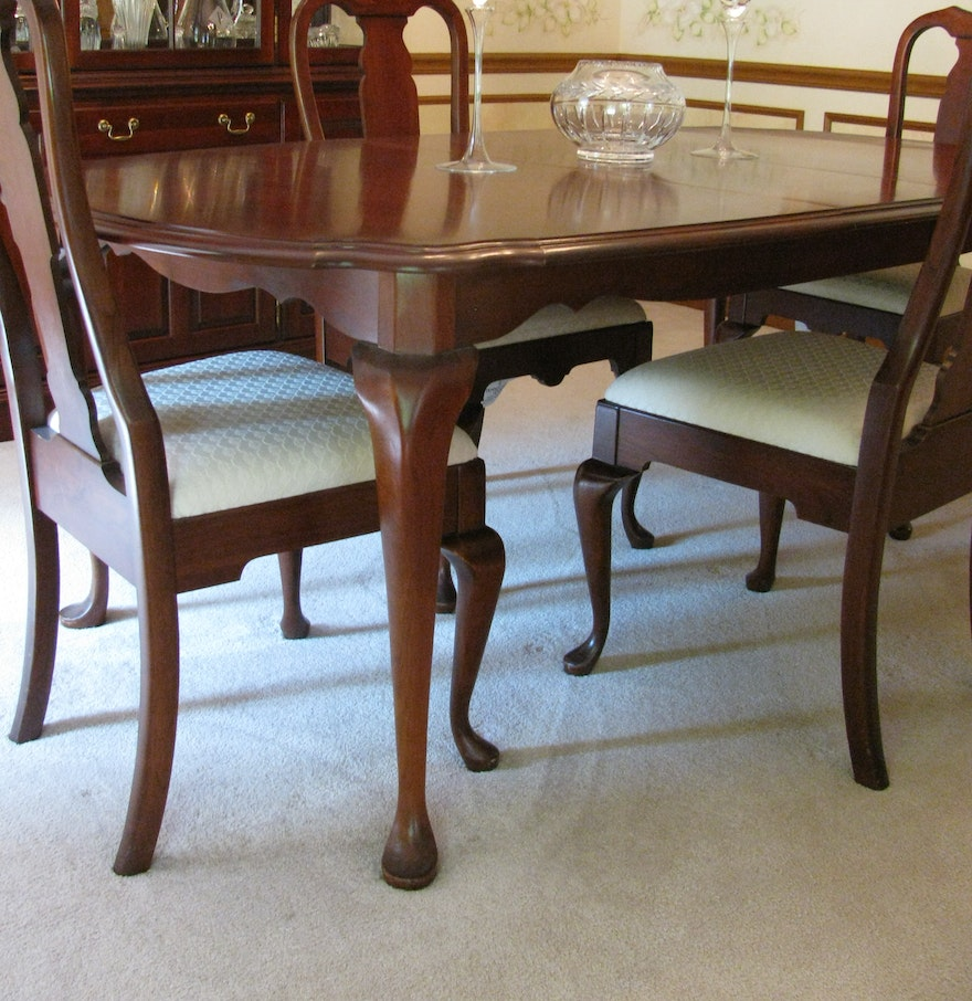 Pennsylvania house cherry queen anne dining room table and chairs ebth - Queen anne dining room furniture ...