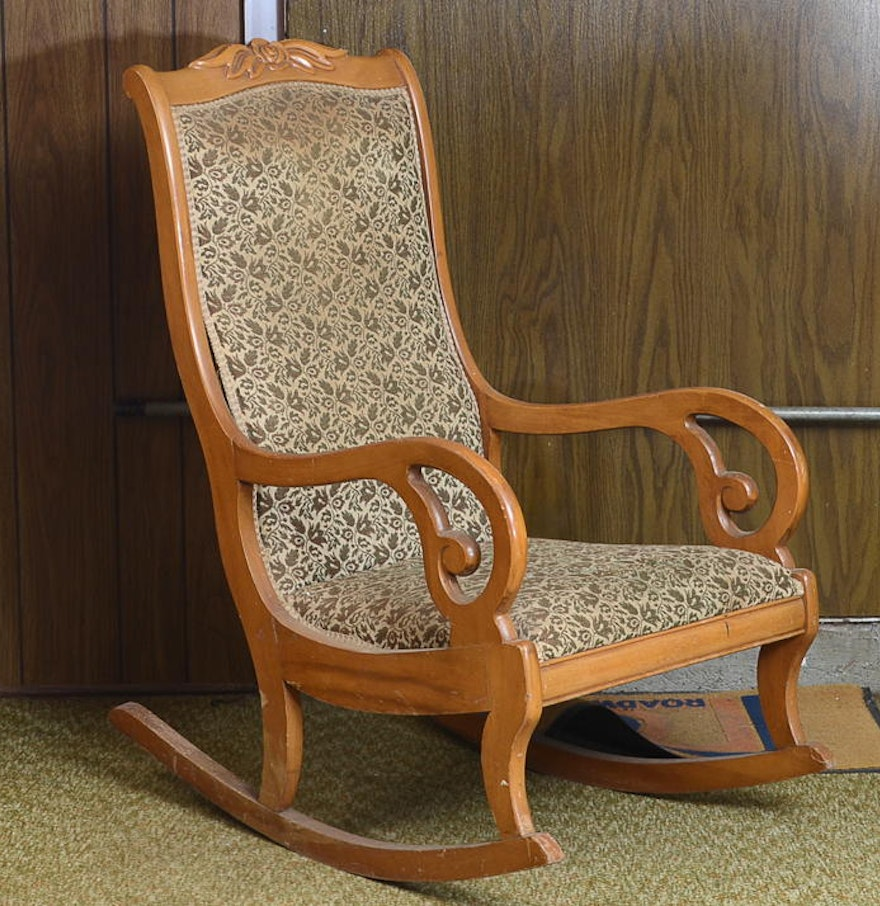 Vintage Maple Lincoln Style Rocking Chair Ebth