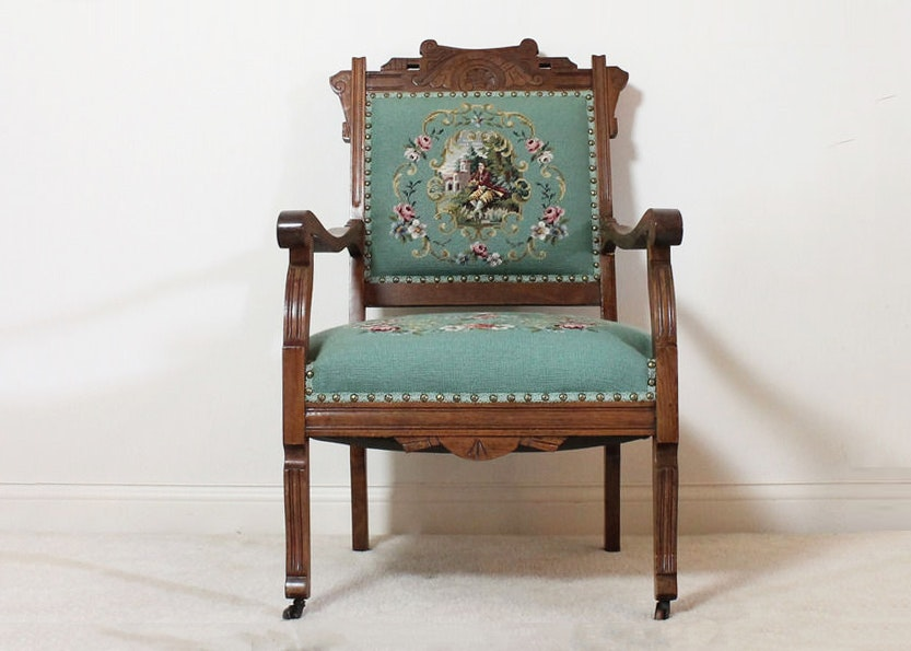 Antique Eastlake Style Embroidered Chair