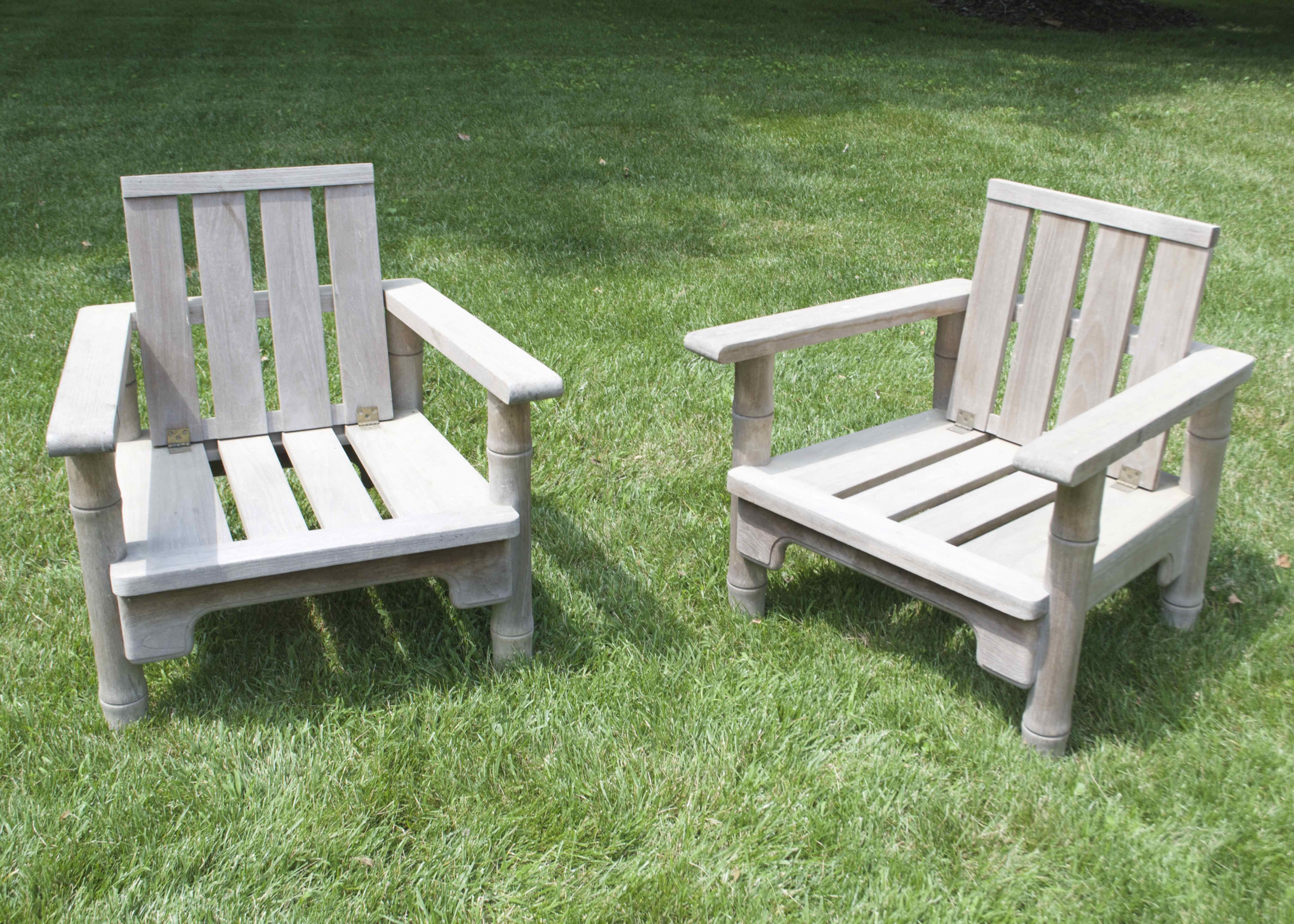 Charmant Two McGuire Teak Patio Chairs With Hinged Backs ...