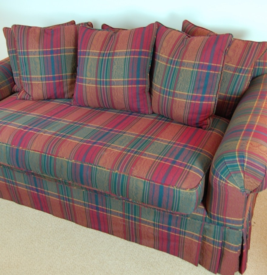 Plaid Sofa With Skirt Ebth