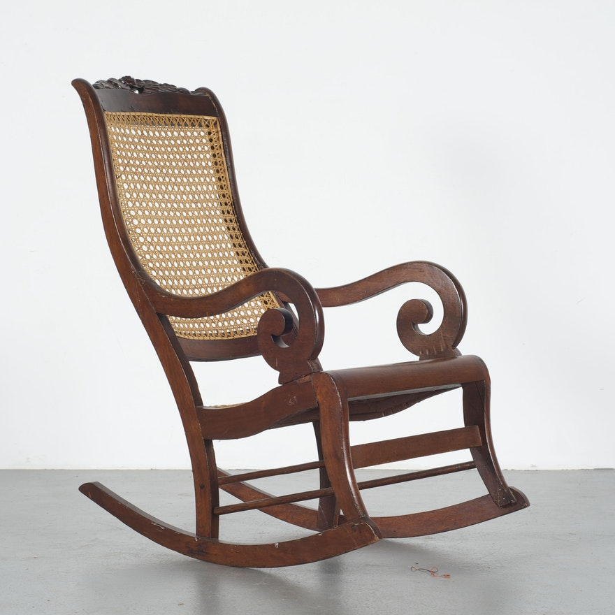 Lincoln Style Victorian Rocking Chair With Cane Back And Seat