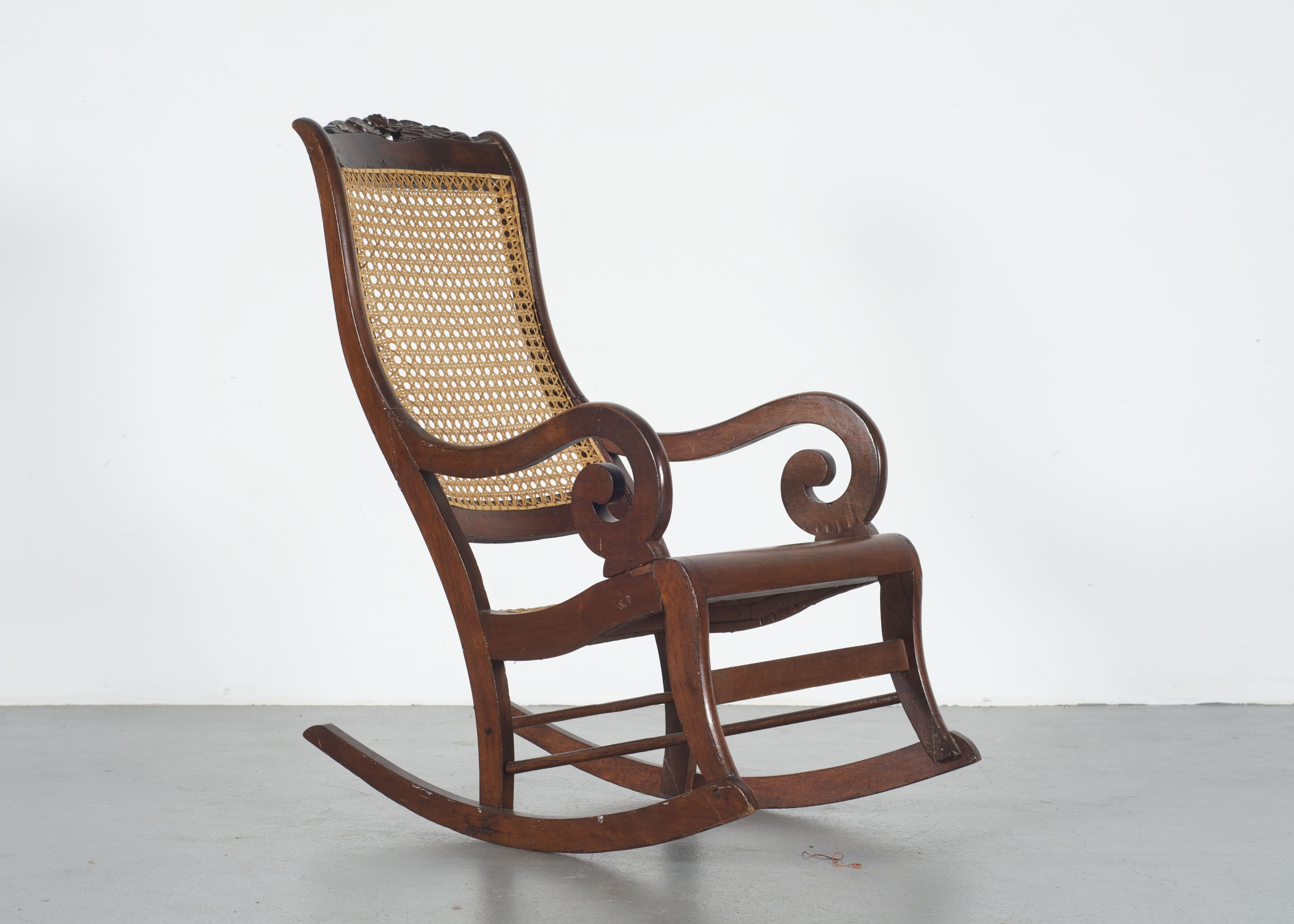 Lincoln Style Victorian Rocking Chair with Cane Back and Seat ... & Lincoln Style Victorian Rocking Chair with Cane Back and Seat : EBTH