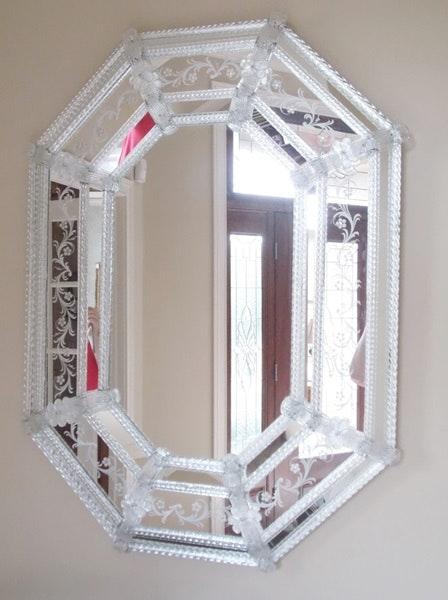 Etched Italian Murano Glass Hall Mirror