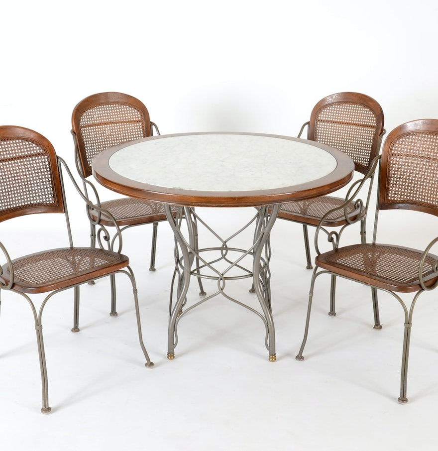 Drexel Heritage Furniture Marble-Top Table and Four Chairs : EBTH