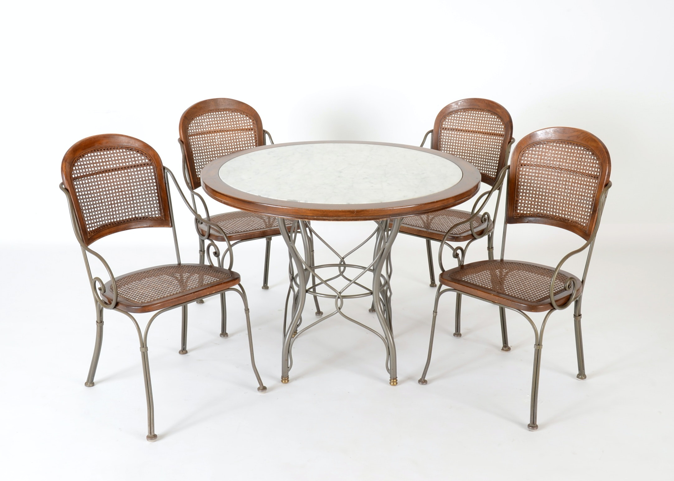 Drexel Heritage Furniture Marble Top Table And Four Chairs ...