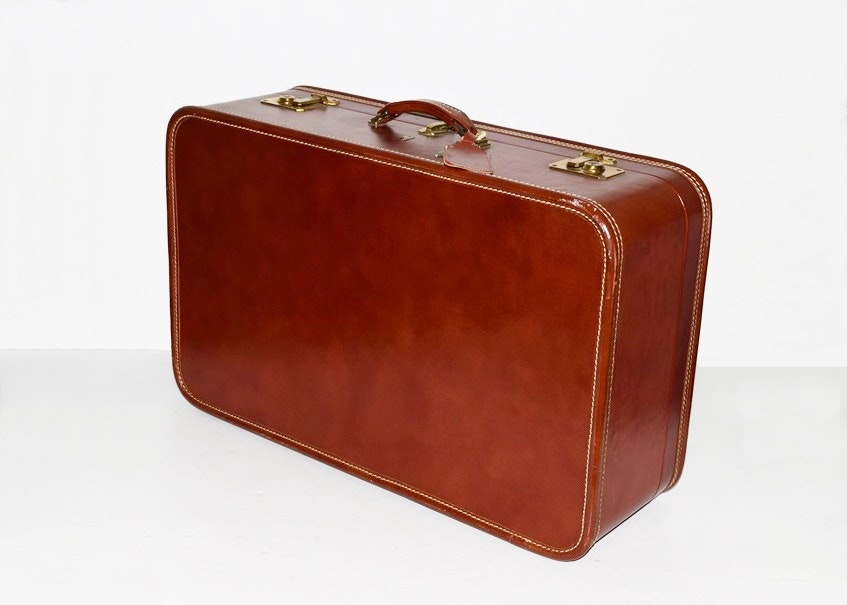A Vintage 1940s Leather Belber Suitcase With Original Key